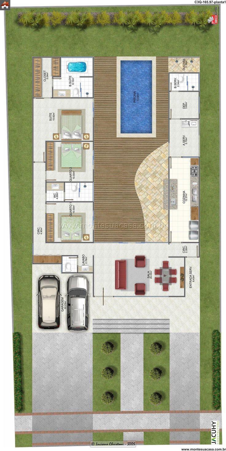Plantas De Casas Com 3 Quartos 60 Projetoss Decor