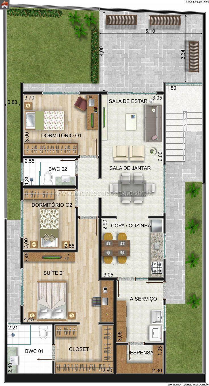 Plantas De Casas Com 3 Quartos 60 Projetos