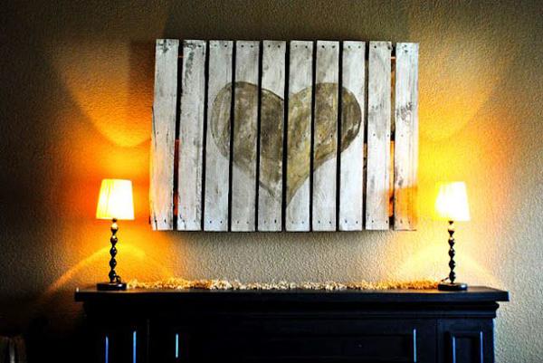 Artesanato em madeira coração