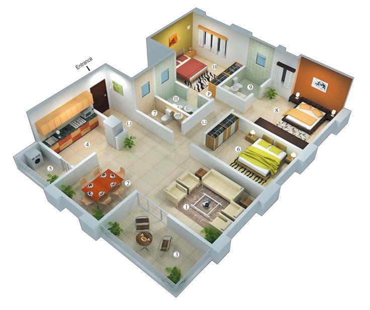 projeto 3d de casa