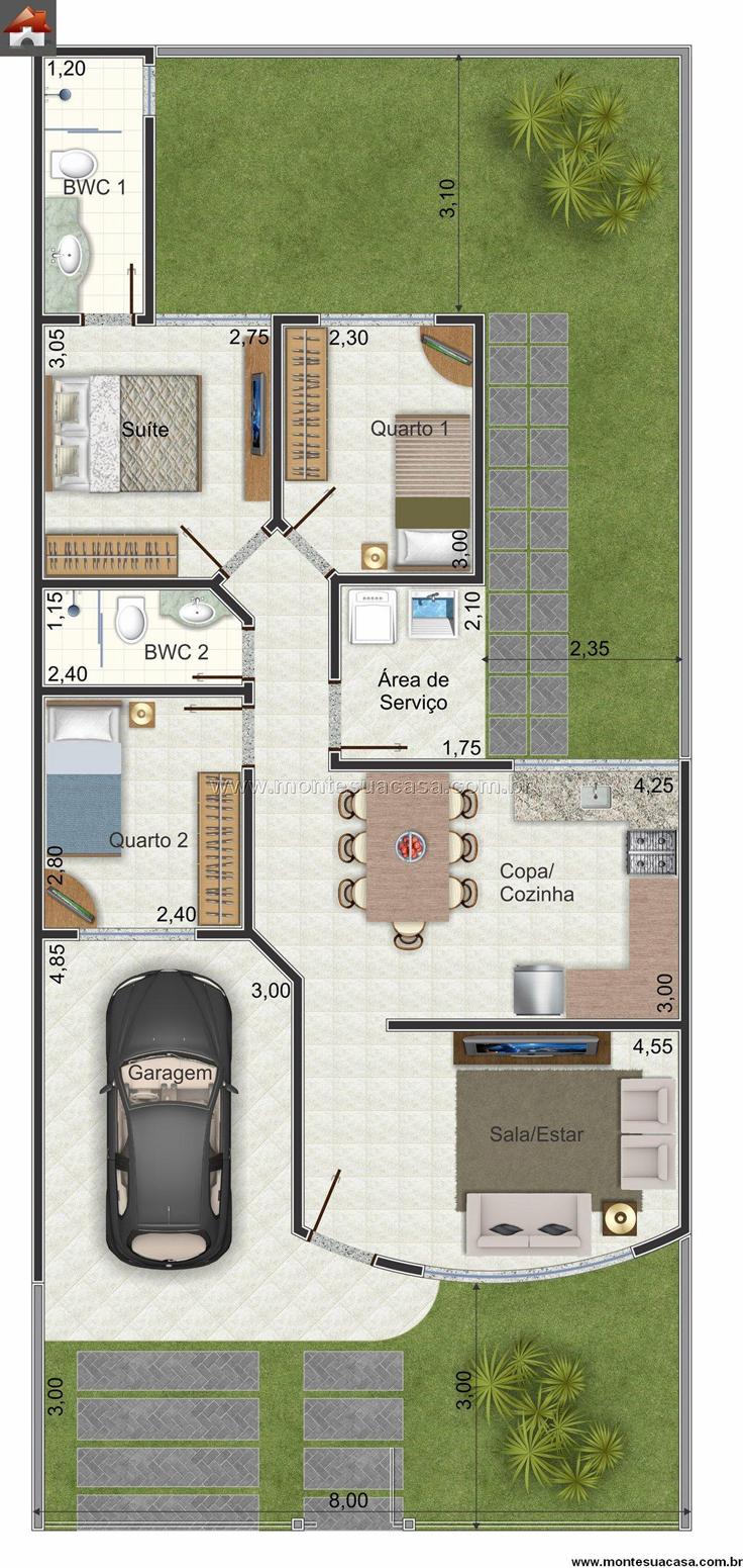 projeto de casa 3 quartos