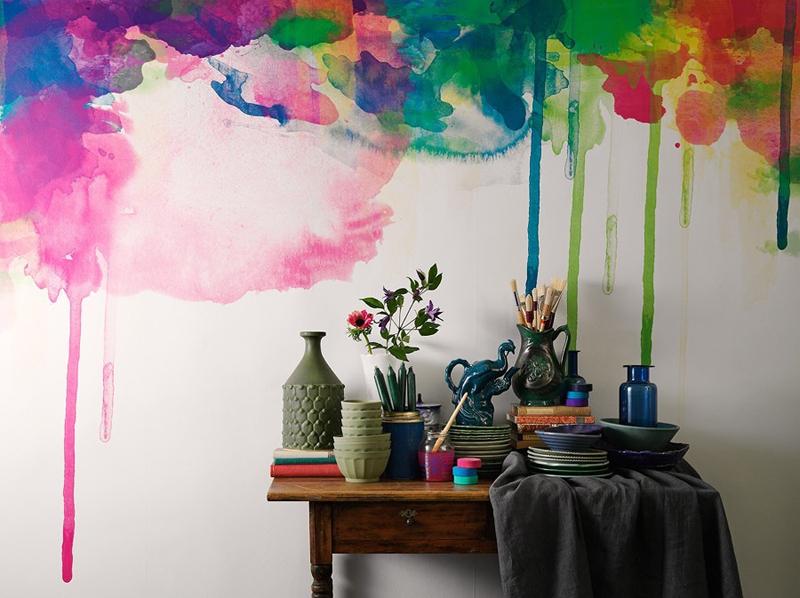 parede decorada com aquarela