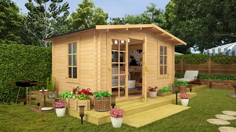 pequena casa com madeira