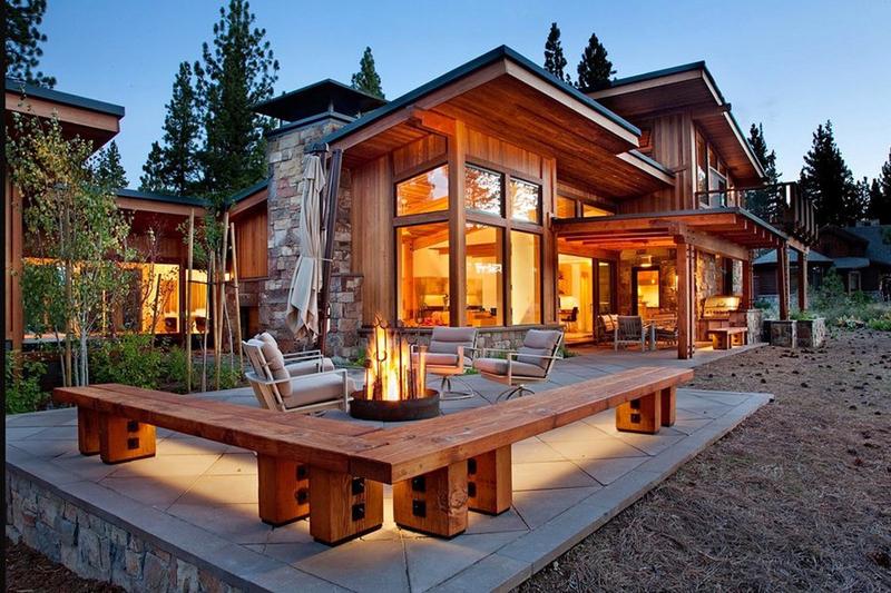 casa com madeira lareira