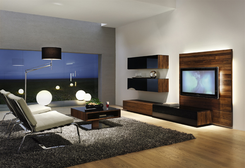 sala de tv com madeiras