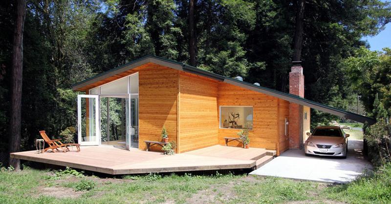 casa com madeira garagem