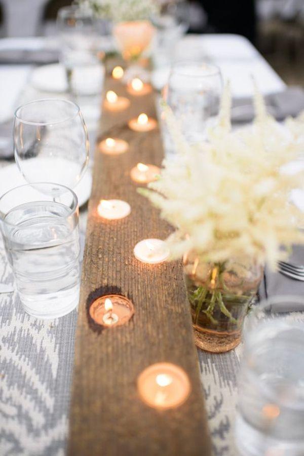 decor casamento madeira e vela
