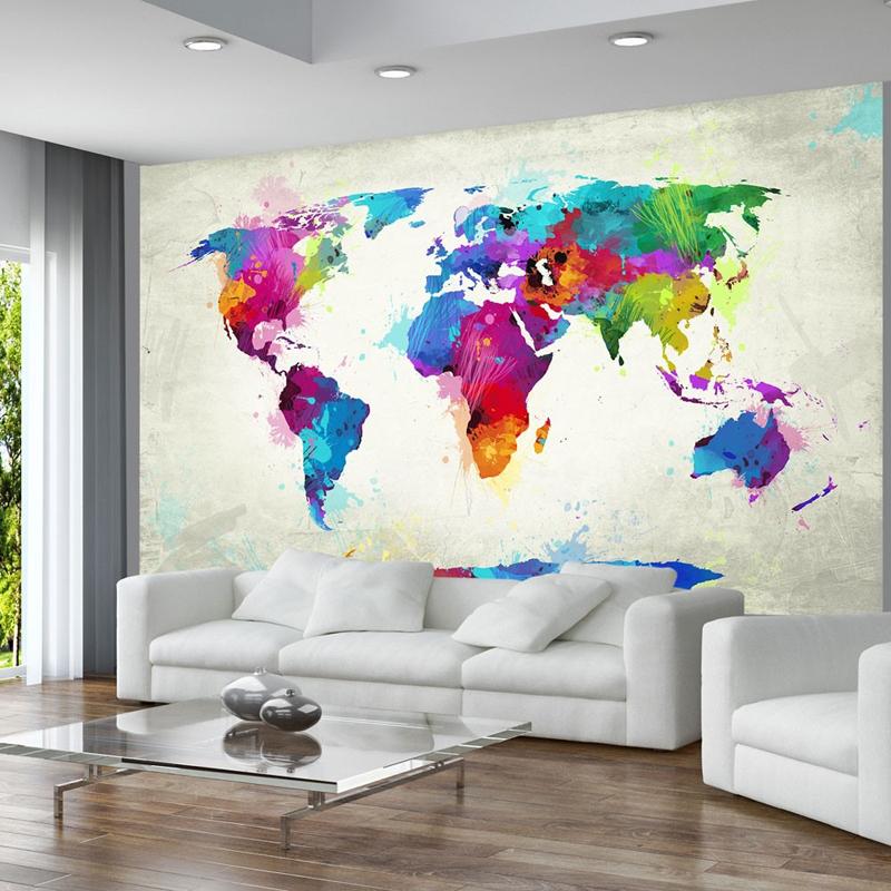 parede decorada com mapa mundi
