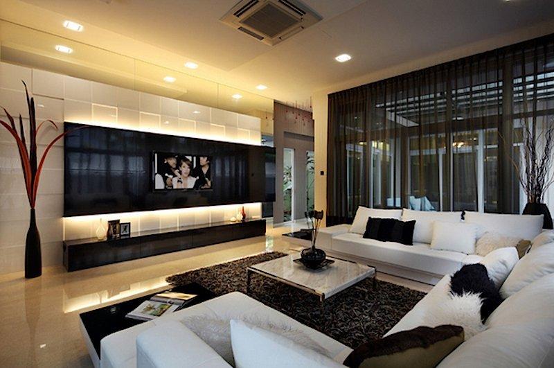 sala de tv com iluminação