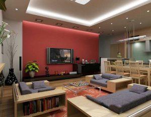 sala de tv vermelha