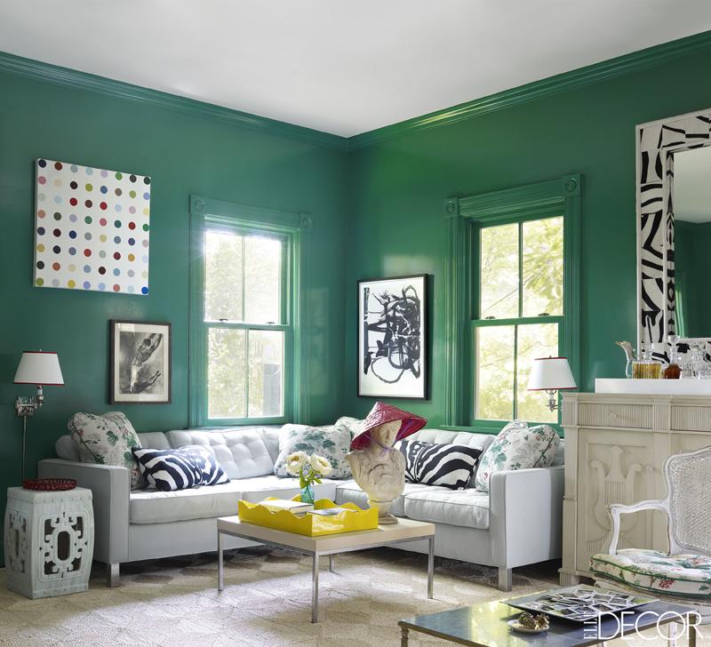 parede decorada com verde