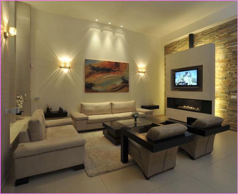 sala de tv com spots de luz