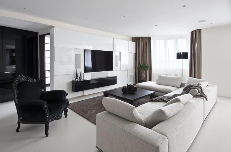 sala de tv branca