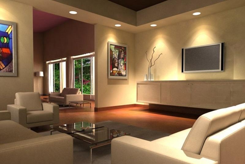 sala de tv iluminada