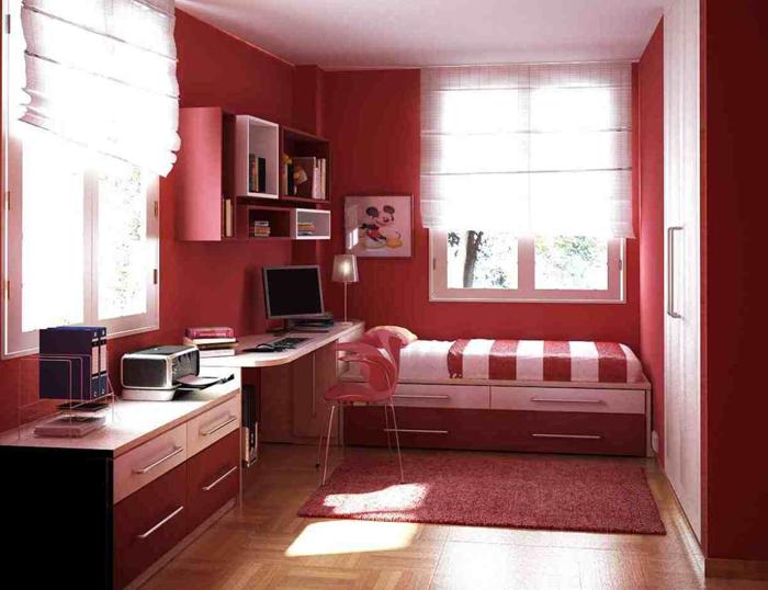 quarto de solteiro vermelho