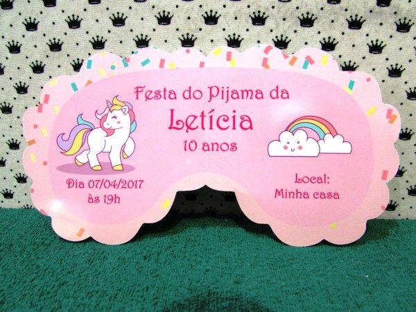 convite para festa do pijama unicornio