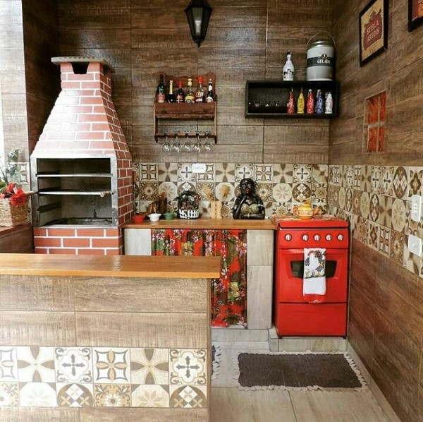 área gourmet pequena decorada