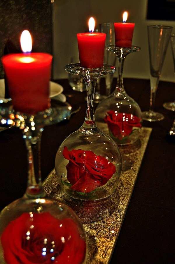 decoração com taças e velas