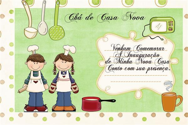 convite verde de chá de casa nova