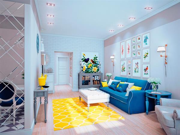 decoração com sofa azul