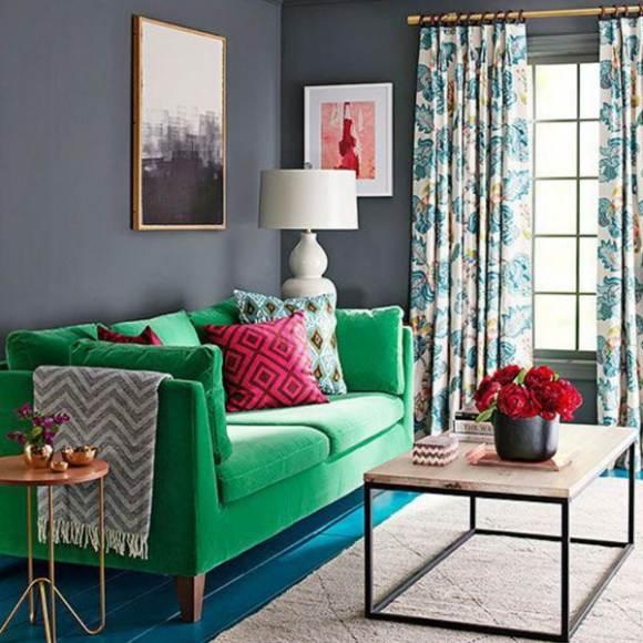 decoração com sofa verde