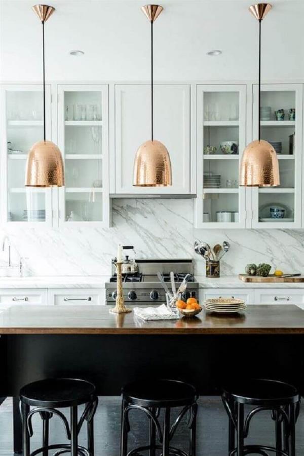 decoração-com-luminária-para-cozinha-americana