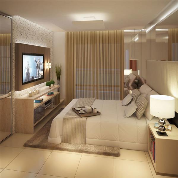 quarto luxuoso com cores claras