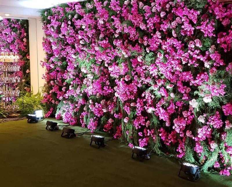 painel de flores de verdade