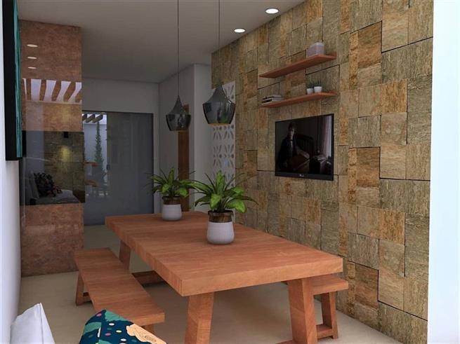 A parede de pedra deixa o ambiente mais fresco