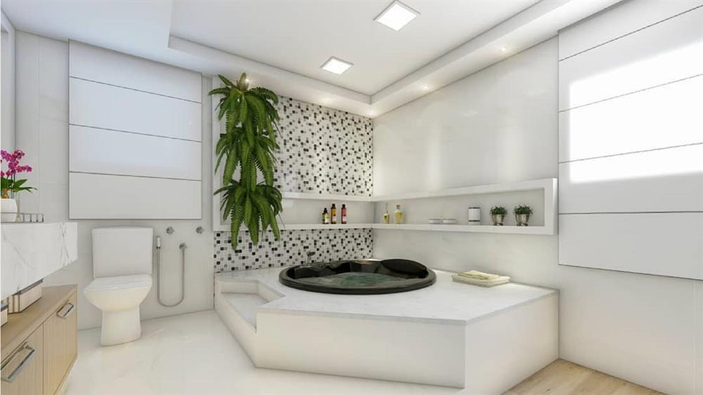 banheiro com banheira de canto preta