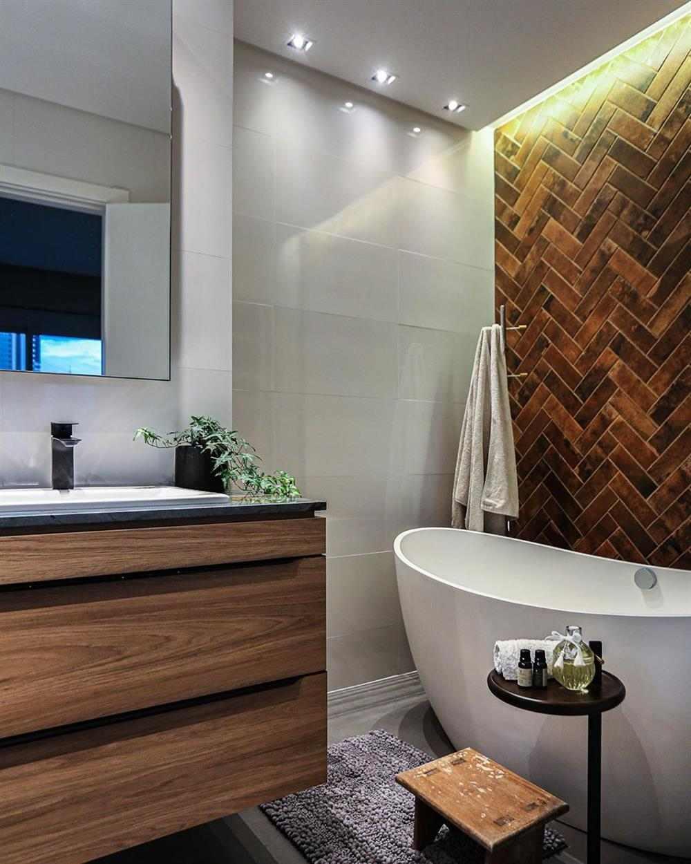 banheiro com banheira rustico