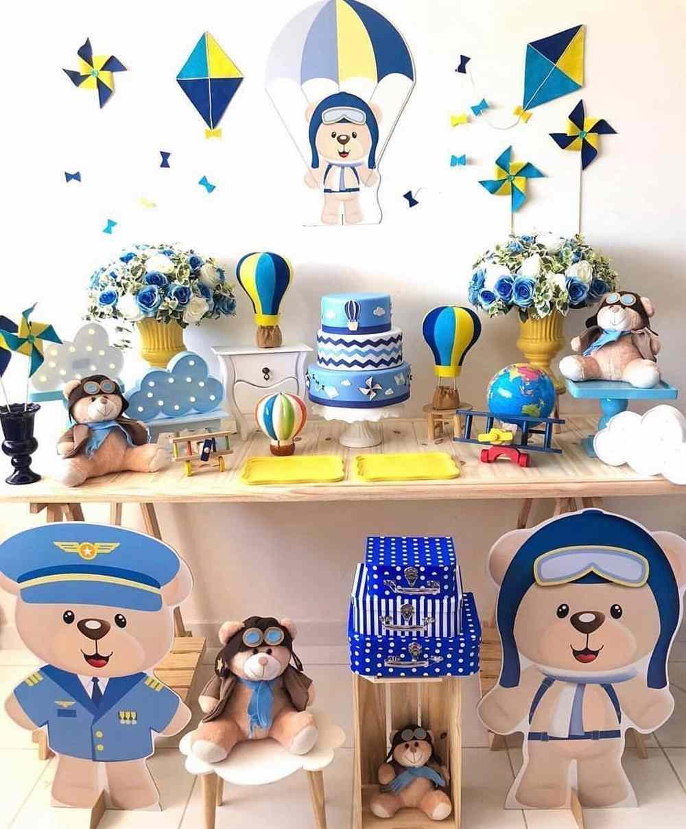 festa infantil simples tema ursinho baloeiro