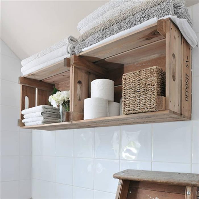 caixote de madeira para decoração do banheiro