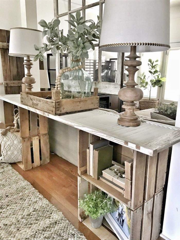 decorar com caixotes de madeira