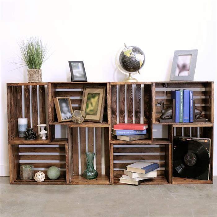 ideias de decoração com caixotes de madeira