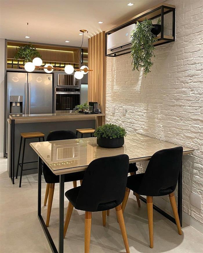 decoração industrial sala de jantar